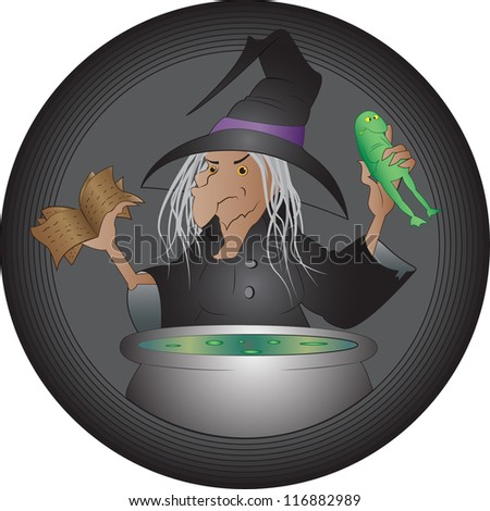 Halloween witch cooking her brew - stock vector