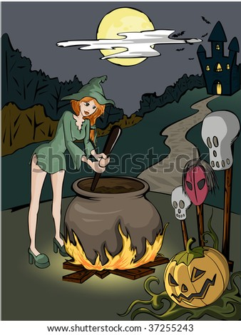 Halloween witch in the forest with coper is prepearing a poison - stock vector