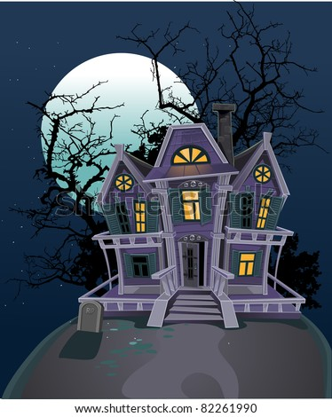 Halloween witch magic house - stock vector