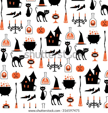 halloween witch pattern on white - stock vector