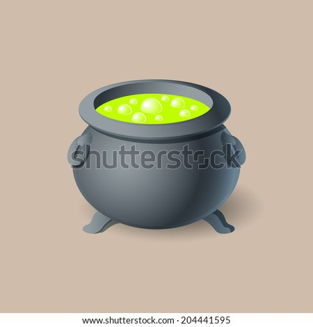 Halloween witch's cauldron icon Isolated on Beige Background - stock vector