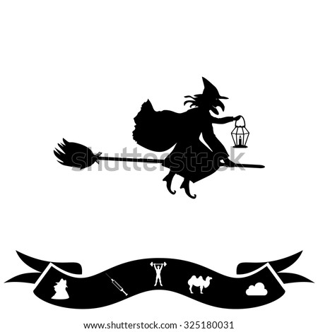 Halloween witch. Silhouette. Black flat icon and bonus pictogram with ribbon. Vector illustration symbol - stock vector