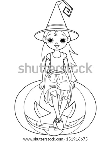 Coloring Pages For Halloween Witches : Halloween coloring page stock images royalty free