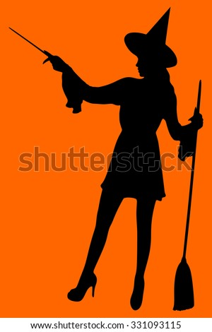 Halloween Witch with a magic wand
