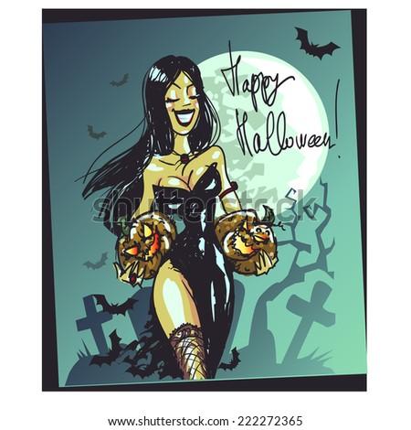 Halloween witch with pumpkin walking through the graveyard, Happy Halloween card - stock vector