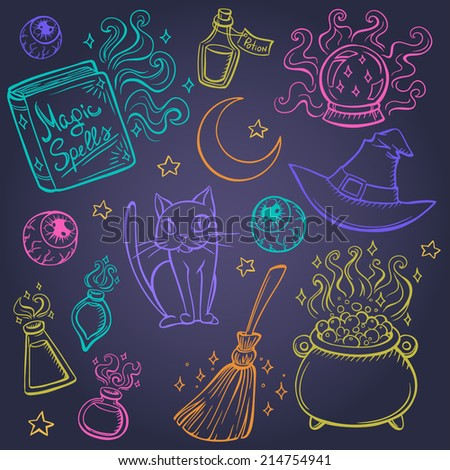 Halloween witches attributes doodles set - stock vector