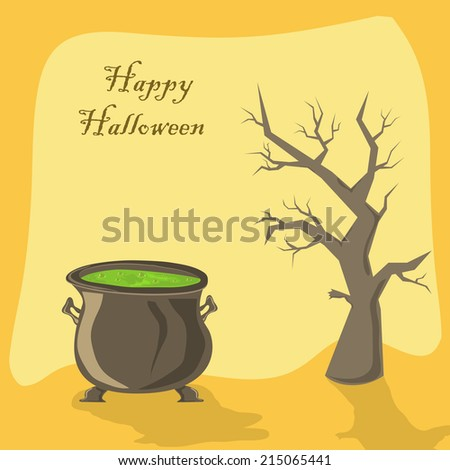 Halloween witches cauldron with green potion and tree on orange background, illustration. - stock vector