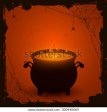 Halloween witches cauldron with orange potion and spiders on dark background, illustration. - stock vector