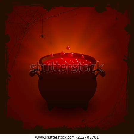 Halloween witches cauldron with red potion on dark background, illustration. - stock vector