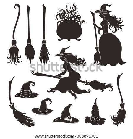 Halloween witches with brooms and hats. - stock vector