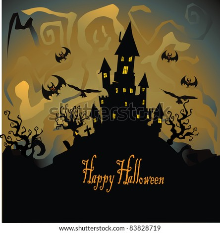 Halloween with haunted house - stock vector