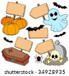 Halloween wooden signs collection - vector illustration. - stock vector