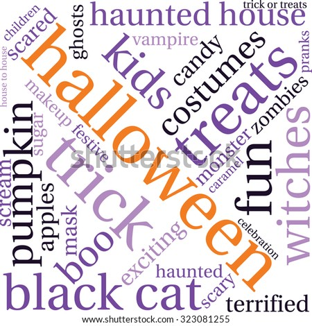 Halloween Word Cloud On a White Background.  - stock vector
