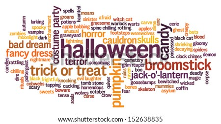 Halloween word cloud vector on whiet background with words related to halloween - witch, trick or treat, candy, pumpkin, halloween, knocking and similar - stock vector