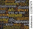 Halloween words and icons background vector - stock