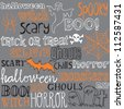 Halloween words & icons seamless background vector - stock photo