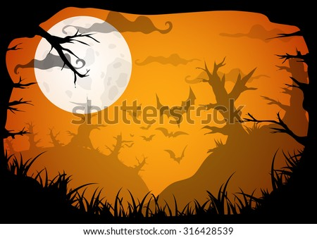 Halloween yellow spooky a4 frame border with moon, death trees and bats. Vector background with place for text