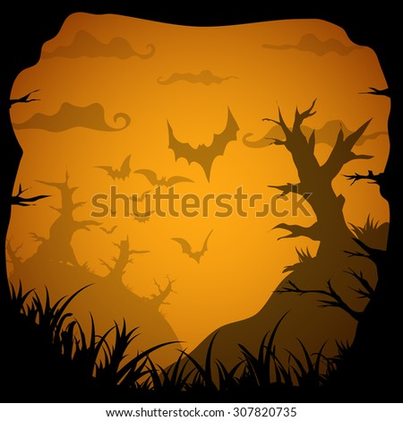 Halloween yellow spooky frame border with death trees and bats. Vector background with place for text - stock vector