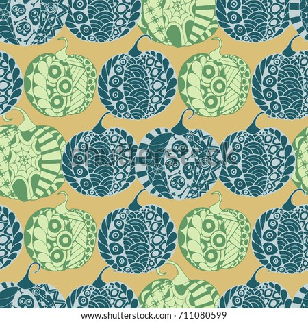 Halloween Zentangle Pattern. Hand Drawn Doodle Pumpkins Scanned and Traced to Vector. Halloween Seamless Background with Carved Pumpkins. Good for Rapport, Textile, Fabric or Wrapping