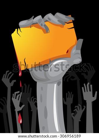 Halloween Zombie Party Poster in vector format - stock vector