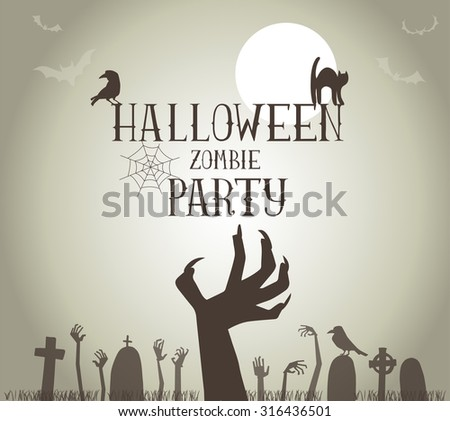 Halloween Zombie Party Poster in vector format - stock vector