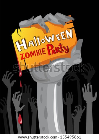 Halloween Zombie Party Poster. Vector illustration.  - stock vector