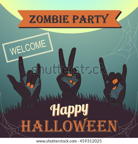 Halloween Zombie Party Poster. Vector illustration. zombies hand sign rock and peace. - stock vector