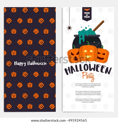 Hallowen Flyer template. Scary party invitation with Halloween motives. Vector Illustration