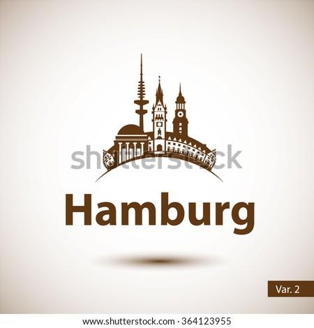 Hamburg Germany. City skyline silhouette. Vector illustration. Icon for travel agency.  - stock vector