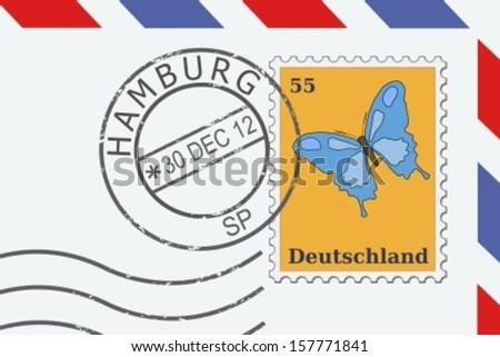 Hamburg postal stamp - city in Germany - stock vector