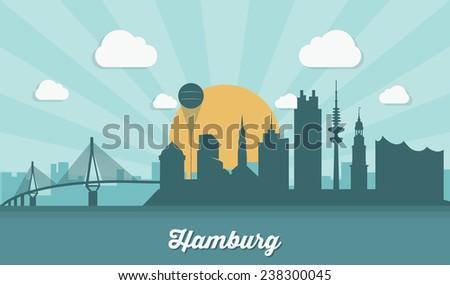 Hamburg skyline - flat design - vector illustration - stock vector
