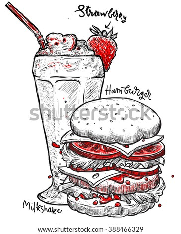 Hamburger and milkshake isolated hand sketch. Fast food illustration. Sketch vector illustration. Fast food restaurant, fast food menu. Hand drawn hamburger isolated. Sketch food, isolated.  - stock vector