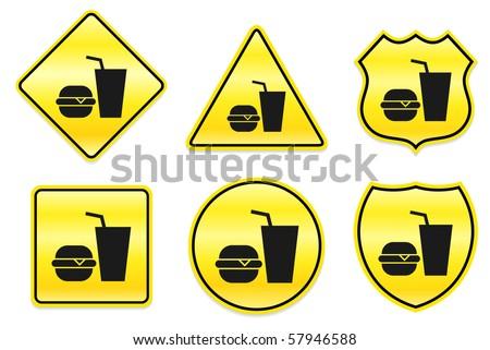 Hamburger and Soda Icon on Yellow Designs Original Illustration - stock vector