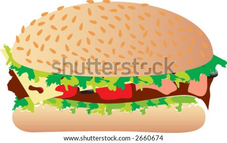 hamburger, burger - stock vector