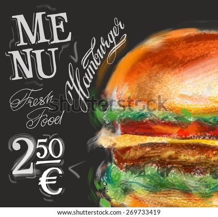 hamburger, burger vector logo design template. fast food or menu board icon. - stock vector