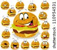 hamburger cartoon illustration with many expressions - stock vector