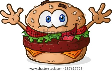 Hamburger Cheeseburger Cartoon Character Celebrating with Arms in the Air