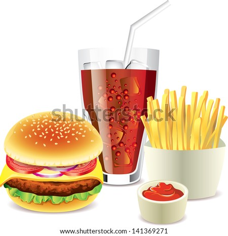 hamburger, cola and french fries photo-realistic vector