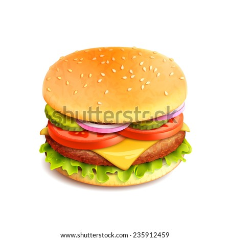 Hamburger fast food sandwich emblem realistic isolated on white background vector illustration - stock vector