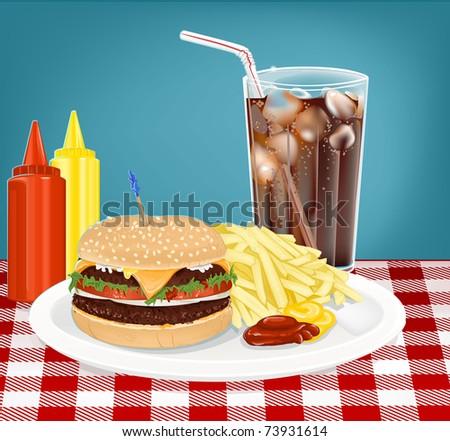 Hamburger, Fries, Cola/Soda with ketchup - stock vector