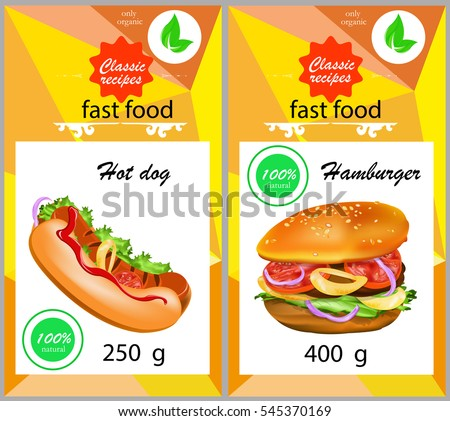 hamburger.hot dog.fast food.sticker.label.vector