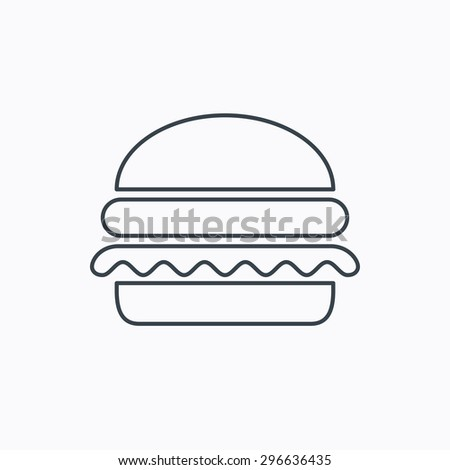 Hamburger icon. Fast food sign. Burger symbol. Linear outline icon on white background. Vector - stock vector