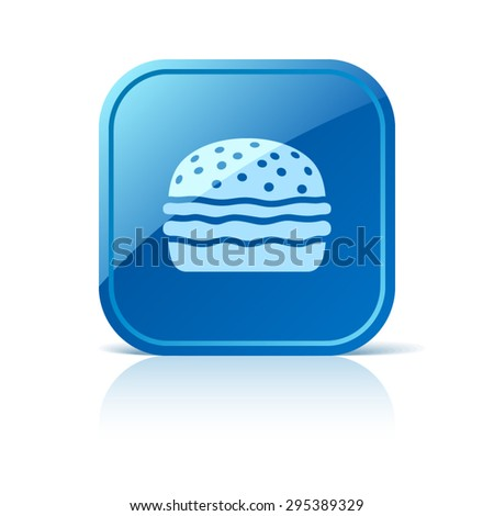 Hamburger icon on blue web button - stock vector