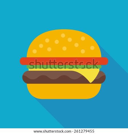 hamburger icon with long shadow. flat style vector illustration - stock vector