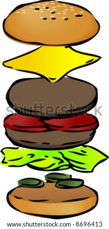 Hamburger illustration, breakdown into sections. hand-drawn lineart sketch - stock vector