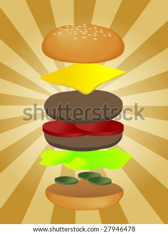 Hamburger illustration, layered burger with cheese vegetables