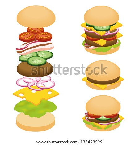 hamburger ingredients - stock vector