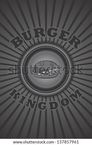 hamburger kingdom vintage theme food and drink - stock vector