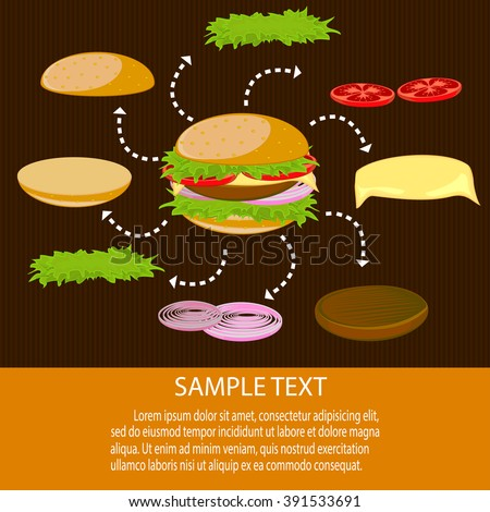 hamburger on a dark background. The ingredients of a hamburger. Hamburger vector. Big hamburger with meat and vegetables.Bacon burger. Bacon stick.  - stock vector