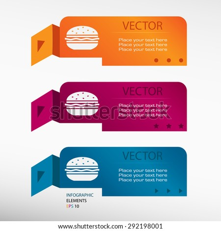 Hamburger on origami paper banners. Can be used for workflow layout, diagram, business step options, banner, web design   - stock vector